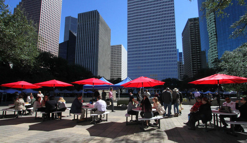 Local Lunch Market Tables and Lunchers at City Hall Reflection Pond